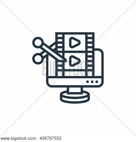 film editing icon isolated on white background from cinema collection. film editing icon thin line o