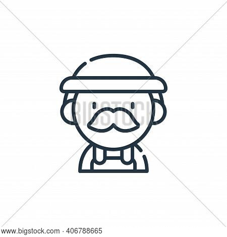 farmer icon isolated on white background from labour day collection. farmer icon thin line outline l