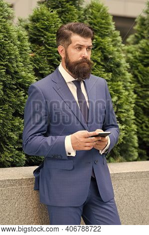 Check Out Updates. Sms Messaging Business. Bearded Man Texting Sms. Businessman Send Sms Using Smart