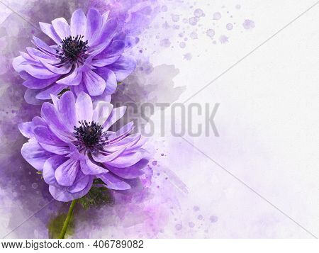 Watercolor Painting Of Blue Anemone Flower. Botanical Illustration.