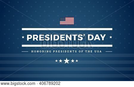 Presidents Day Usa Blue Background With The United States Flag And Stars - Presidents' Day Celebrati