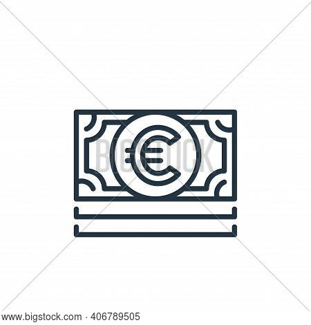 euro bill icon isolated on white background from money and currency collection. euro bill icon thin