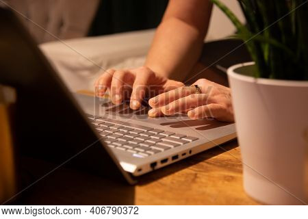 A Man At Home Works At A Computer, Work From Home, Home Environment With A Computer, Homeoffice, Typ
