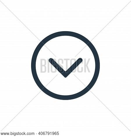 down icon isolated on white background from interface collection. down icon thin line outline linear