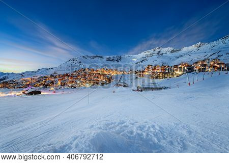 Panorama Of Famous Val Thorens In French Alps By Night, Vanoise, France
