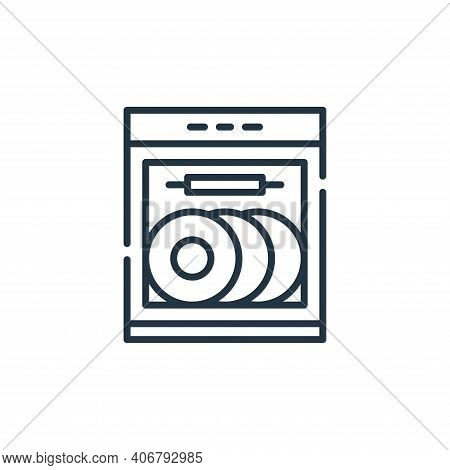 dish washer icon isolated on white background from cleaning collection. dish washer icon thin line o