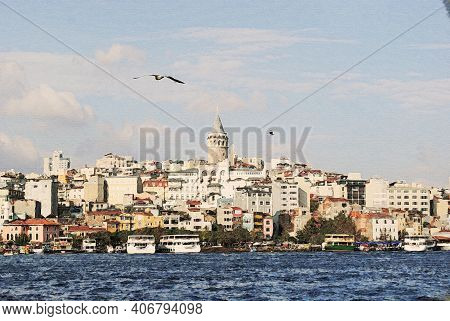 Galata District With The Famous Galata Tower Over The Golden Horn, Istanbul, Turkey. Galata Tower Is