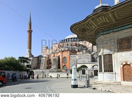 Istanbul, Turkey - October 05, 2020. Hagia Sophia And Fountain Of Sultan Ahmed Iii In The Great Squa