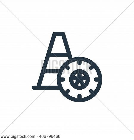cone icon isolated on white background from auto racing collection. cone icon thin line outline line