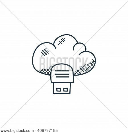 cloud storage icon isolated on white background from technology collection. cloud storage icon thin