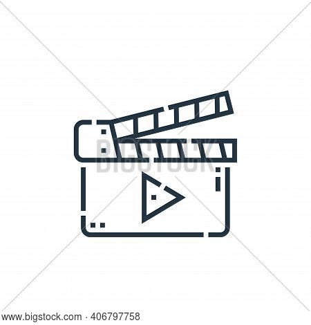 clapperboard icon isolated on white background from videoblogger collection. clapperboard icon thin