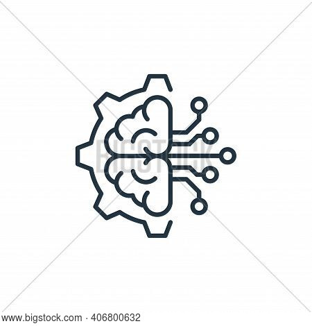 brain icon isolated on white background from robotics collection. brain icon thin line outline linea