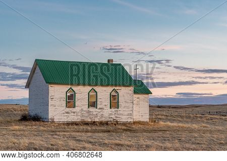 Old Lutheran Church At Sunset On The Prairies South Of Cadillac, Sk