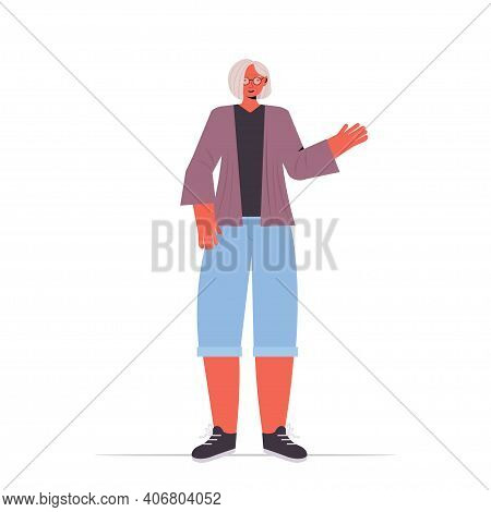 Old Woman In Casual Trendy Clothes Senior Female Cartoon Character Standing Pose Gray Haired Grandmo