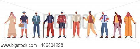 Set Mix Race Old Men In Casual Trendy Clothes Senior Male Cartoon Characters Collection Full Length