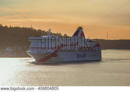 Stockholm Archipelago, Sweden - March 09, 2019: Tourist Cruise Ferry