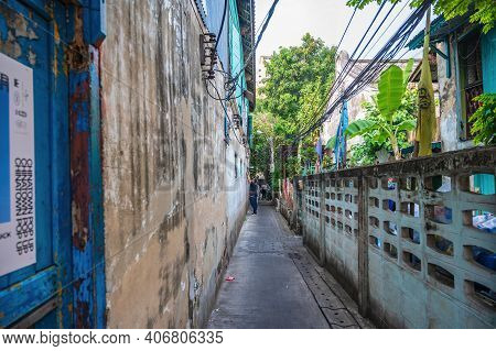 Bangkok/thailand-19 Jan 2020:old Alley Building On Talat Noi.talad Noi (talat Noi), One Of The Oldes