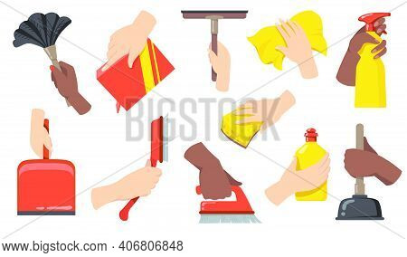 Hands Holding Cleaning Tools Flat Illustration Set. Cartoon Arms With Broom, Brush, Scoop, Bottle Wi