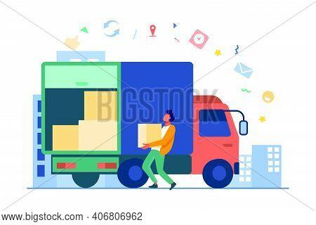 Loading Workman Carrying Box In Truck. Parcel, Logistics, Cardboard Flat Vector Illustration. Delive