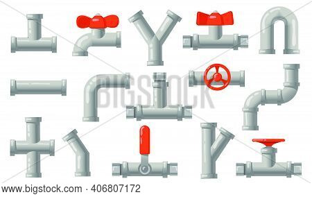 Plumbing Pipes Set. Grey Metal Tubes With Valves, Industrial Pipelines, Water Drains Isolated On Whi