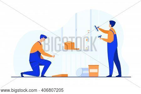 Renovation Workers Repairing Apartment. Repairmen In Overalls Decorating And Painting Walls. Vector