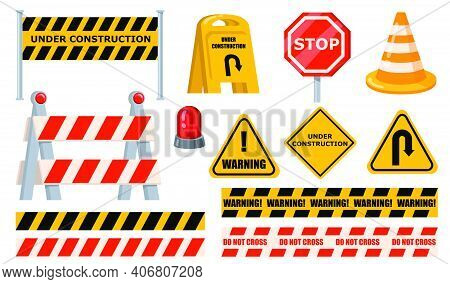 Road Barriers Set. Warning And Stop Signs, Under Construction Boards, Yellow Tape And Cone. Flat Vec