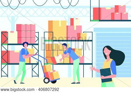 Staff Working In Logistic Storage Isolated Flat Vector Illustration. Cartoon Stockroom Workers And L