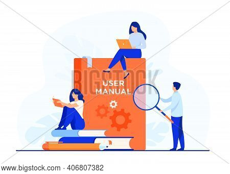 Tiny People With Guide Instructions Or Handbooks Flat Vector Illustration. Cartoon Characters Readin