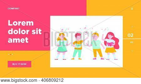 Cartoon Children Choir Flat Vector Illustration. Cute Kids Singing Song At Music School, Church Or V