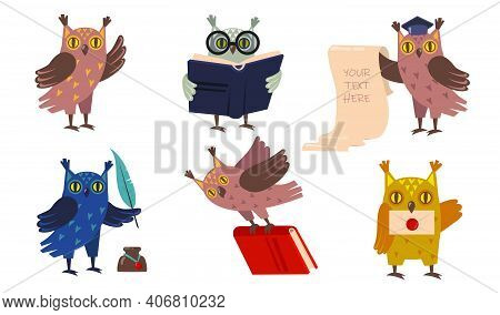 Academic Owls Set. Cute Cartoon Birds In Graduation Caps With Books. Vector Illustrations For Educat