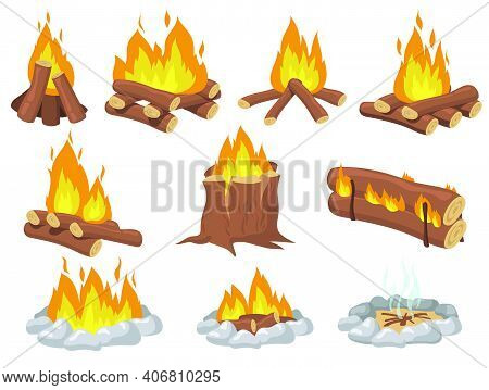 Bright Wood Campfire And Bonfire Flat Item Set. Cartoon Fire For Camping On White Background Isolate