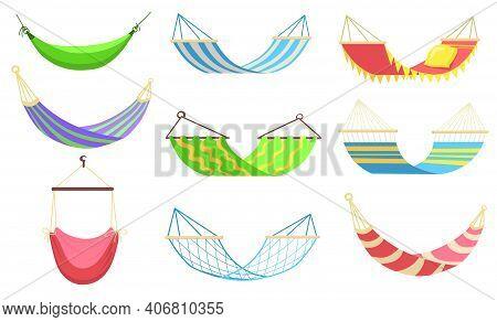 Colorful Hammocks Of Different Types Flat Set For Web Design. Cartoon Hammocks For Relaxing, Swingin