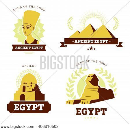 Egypt Travel Flat Banner Set. Ancient Egyptian Religion And Culture Symbols Of Pyramids, Sphinx Stat
