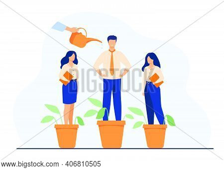 Employer Growing Business Professionals Metaphor. Hand Watering Plants And Employees In Flowerpots.