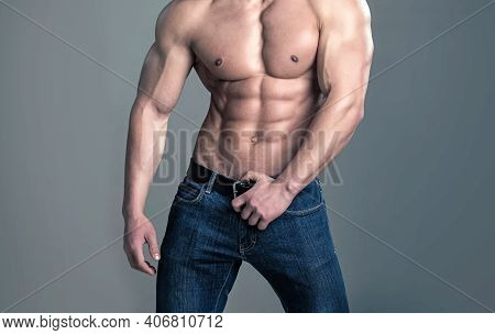 Sexy Man. Healthy Muscular Mans Body. Topless Shirtless Male Model Gay. Naked Bodybuilder
