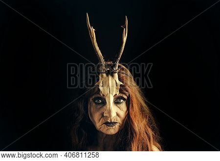 Bewitch And Magic. Old Witch With Animal Skull And Antlers. Granny Witch, Halloween