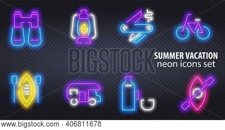 Big Set Neon Sing. Summer Camping Label And Logo. Kayak Banner, Logo, Emblem And Label. Bright Signb