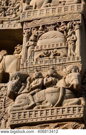 Close-up Of Depiction Of Vivid Daily Life On Stone Pillar Of Stupa At Sanchi Near Bhopal In Madhya P