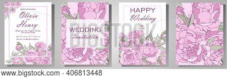 Vector Illustration. Wedding Invitation Frame Set Flowers,peonies, Isolated On White. Wedding Orname