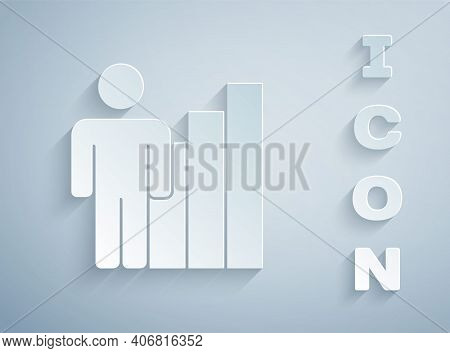 Paper Cut Productive Human Icon Isolated On Grey Background. Idea Work, Success, Productivity, Visio