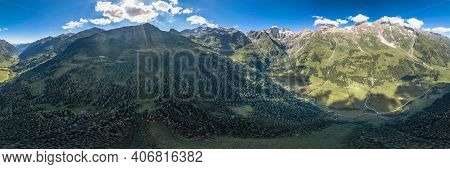 360 Aerial Panoramic View Of Grossglockner Vally By Taxenbacher Fusch High Alpine Road In Austria Ti