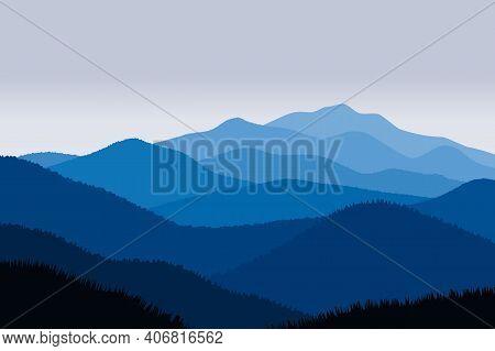 Vector Illustration Of Beautiful Scenery Mountains In Dark Blue Gradient Color. Mountains Ridge Scen