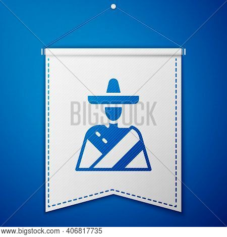 Blue Mexican Man Wearing Sombrero Icon Isolated On Blue Background. Hispanic Man With A Mustache. Wh