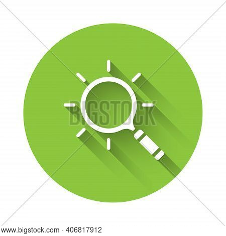 White Magnifying Glass Icon Isolated With Long Shadow. Search, Focus, Zoom, Business Symbol. Green C
