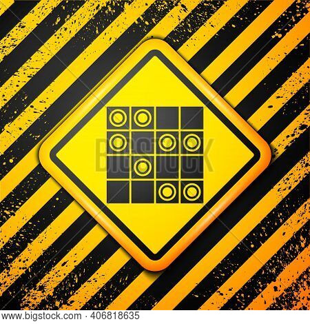 Black Board Game Of Checkers Icon Isolated On Yellow Background. Ancient Intellectual Board Game. Ch