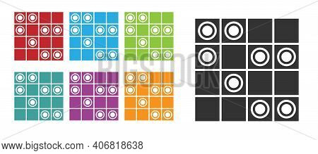 Black Board Game Of Checkers Icon Isolated On White Background. Ancient Intellectual Board Game. Che