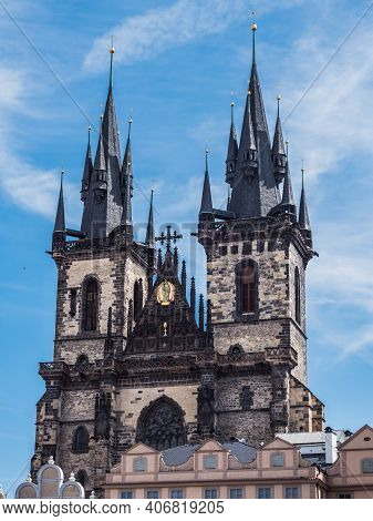 Church Of Our Lady Before Tyn Spires, Exterior Of A Gothic Building In The Old Town Of Prague, Czech