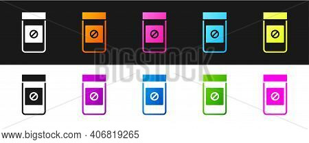 Set Sports Doping, Anabolic Drugs Icon Isolated On Black And White Background. Anabolic Steroids Tab