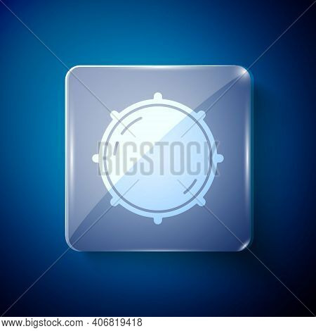 White Dial Knob Level Technology Settings Icon Isolated On Blue Background. Volume Button, Sound Con