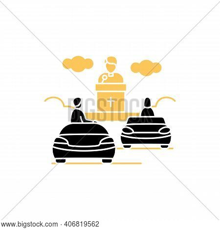 Church Service Glyph Icon. People Listen To Priest Drive-in Concept. Car Near Small Church. Chapel S